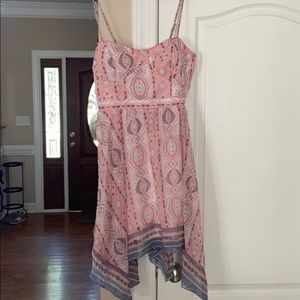 pink printed high low, spaghetti strapped dress
